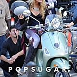 Blake Lively sat on the Vespa in NYC.