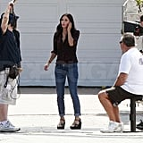 Courteney Cox was surrounded by the Cougar Town crew.