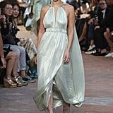 Bella Wore This Glimmering Grecian-Inspired Mint Dress at Alberta Ferretti