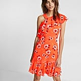 Express Neon Floral Print Ruffle Dress