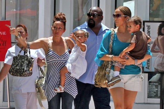 Jennifer Lopez goes for a walk with her twins Emme and Max