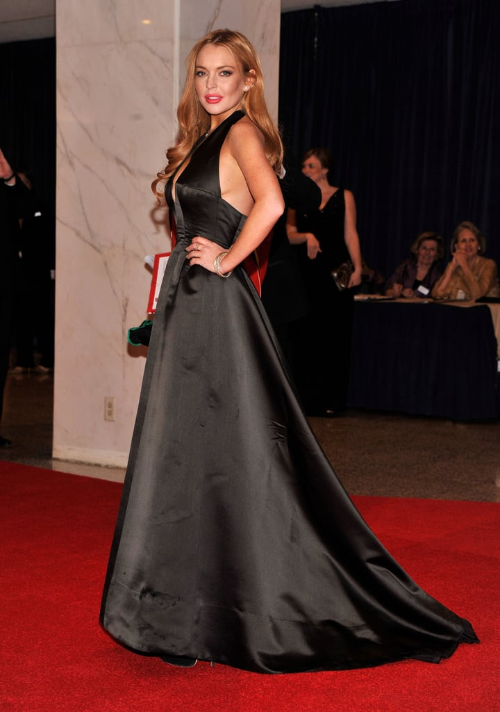 Lindsay Lohan wore a gorgeous long black dress.