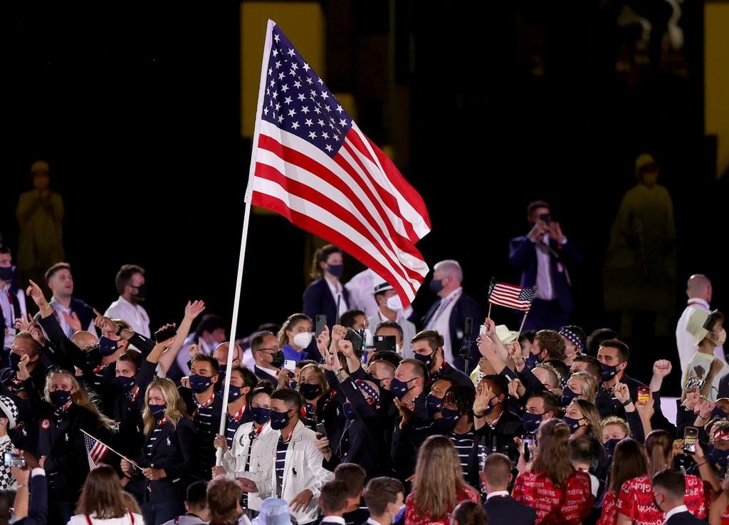 Flag Bearers Sue Bird and Eddy Alvarez of Team USA at the Tokyo Opening Ceremony