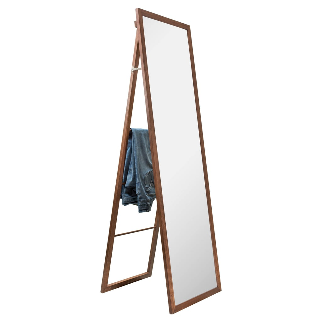 Threshold Wood Ladder Standing Floor Mirror Walnut