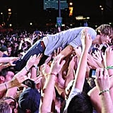 Thomas Mars of Phoenix did a stage dive during the band's performance.