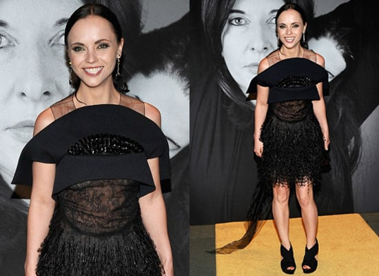 Photos of Christina Ricci at MoMa Party in New York City in Black Dress