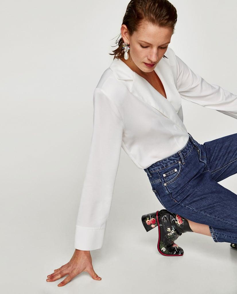 cffa4f07 Zara Bodysuit With Lapel Collar | Angelina Jolie Black Pencil Skirt ...