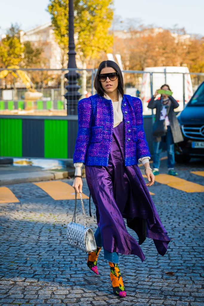 A lesson in wearing bold color from head-to-toe.