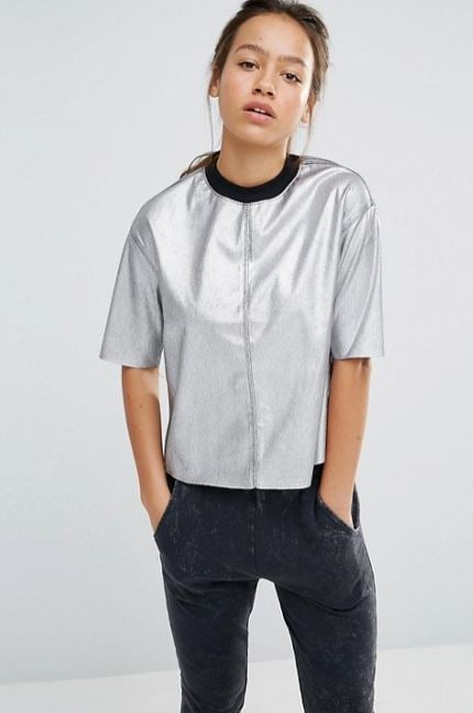 Converse Silver Metallic T-Shirt ($23, originally $53)