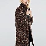 ASOS Slim Coat in Leopard Print