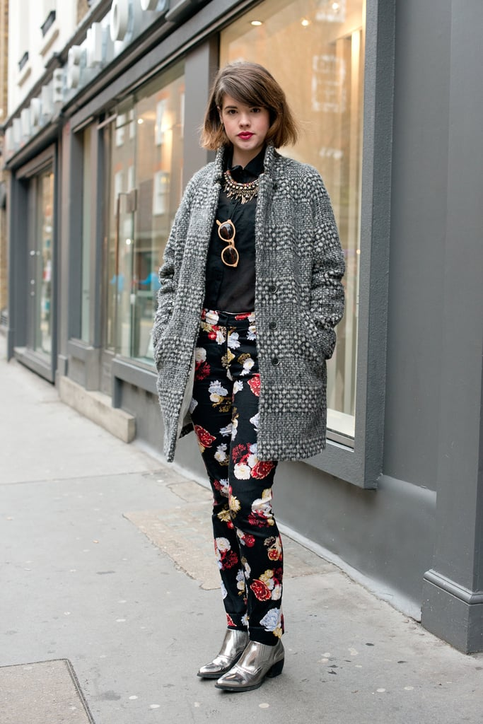 Floral pants took this cocoon coat to a more playful place.