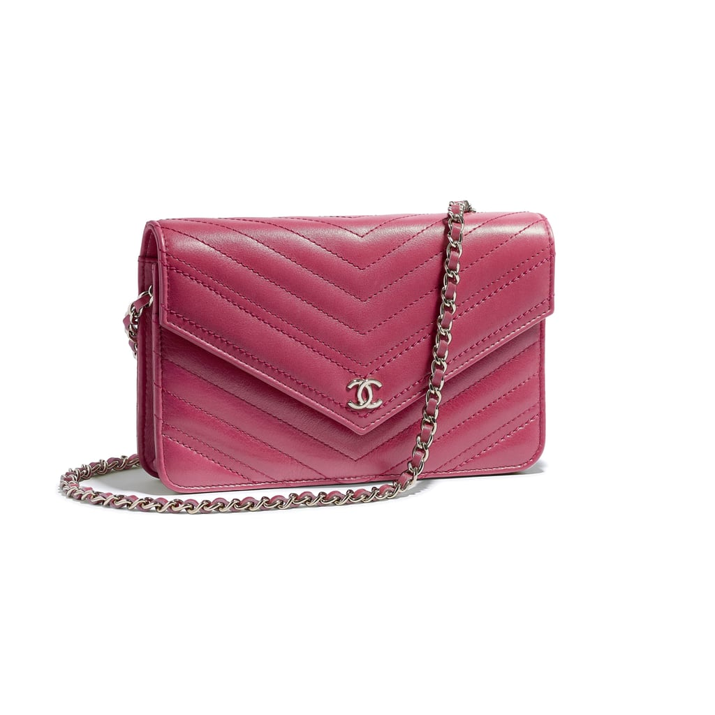 Chanel Calfskin and Gold-Tone Metal Wallet on Chain