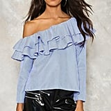 Nasty Gal Wave Aside Ruffle Top