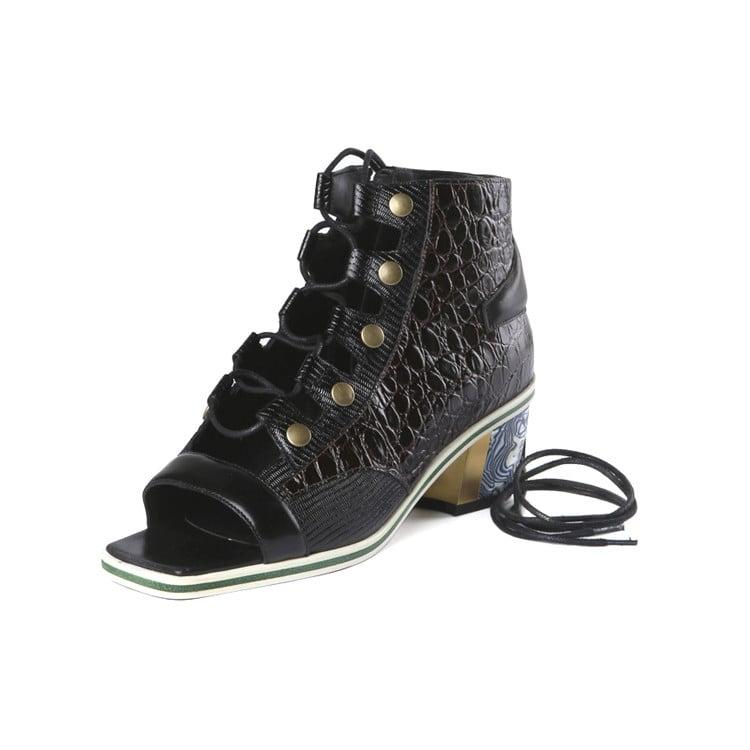 Rodarte Black Lace-Up Sandal Bootie ($1,120)