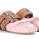 Miu Miu Shearling Lined Leather Ballerinas