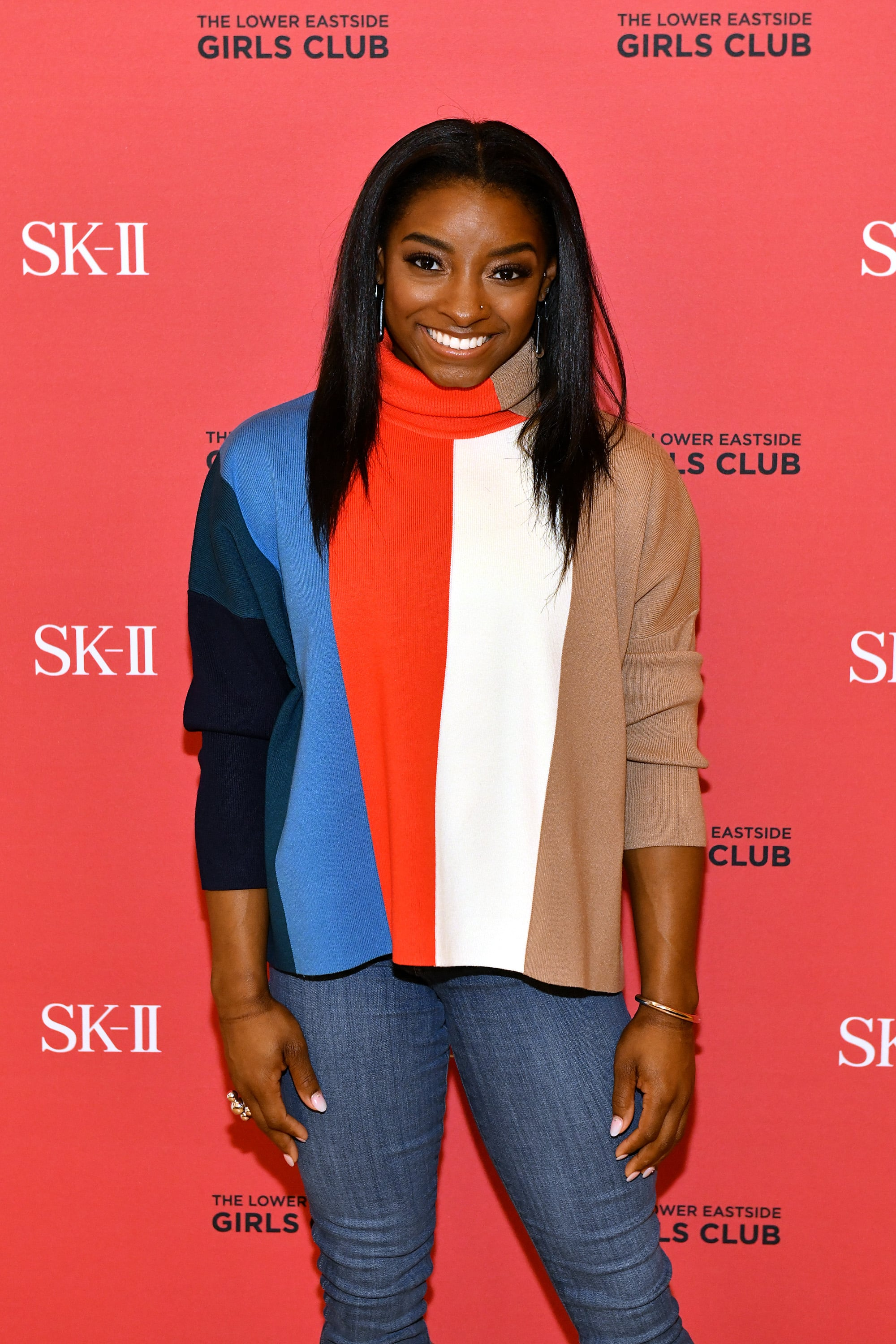 NEW YORK, NEW YORK - MARCH 03:  Simone Biles visits the Lower Eastside Girls Club with SK-II at Lower East Side Girls Club on March 03, 2020 in New York City. (Photo by Craig Barritt/Getty Images for SK-II)