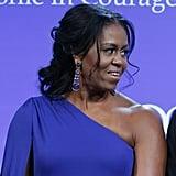 Michelle Obama Blue One Shoulder Dress