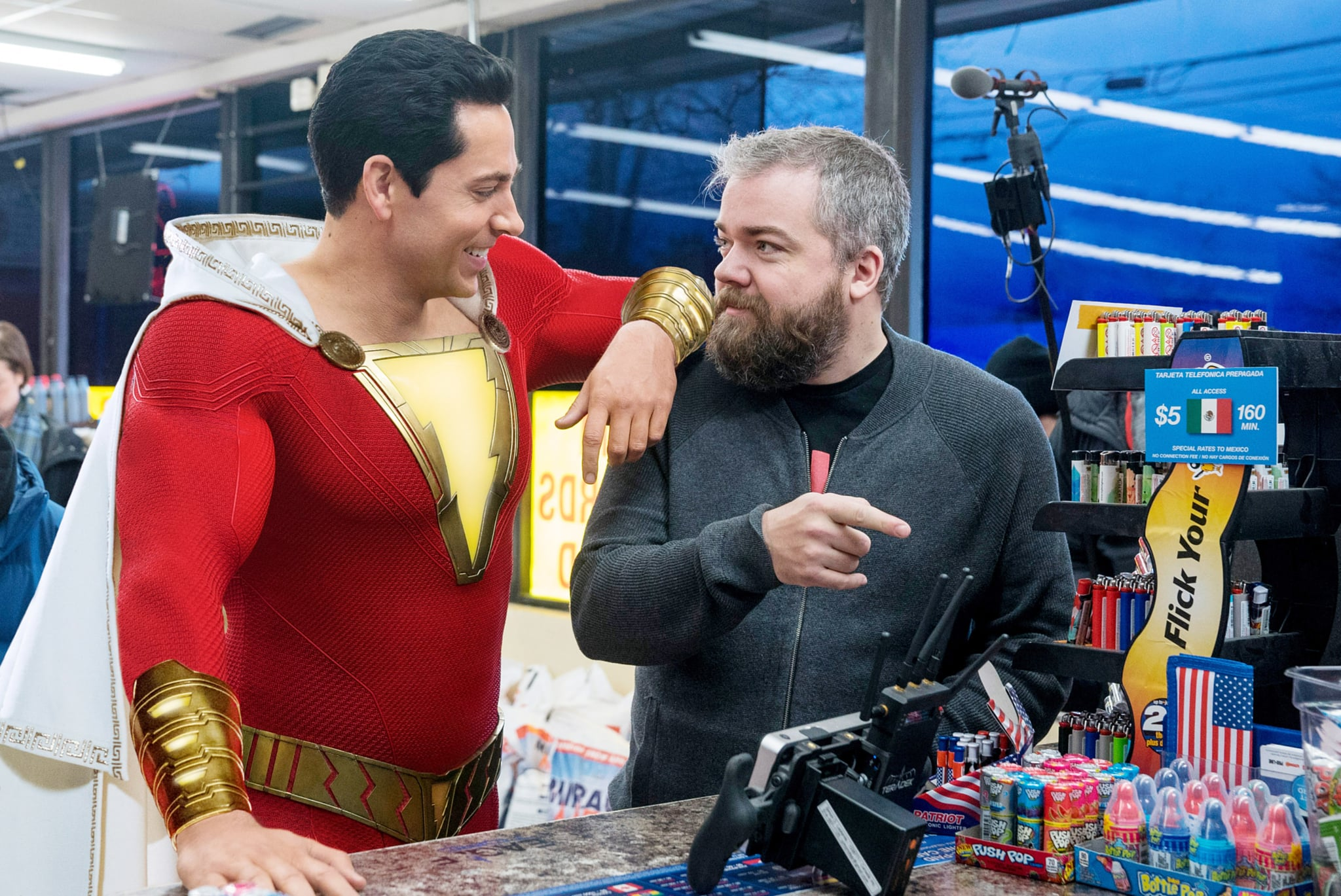 SHAZAM!, Zachary Levi (as Shazam), Director David F. Sandberg, on-set, 2019. ph: Steve Wilkie /  Warner Brothers / Courtesy Everett Collection