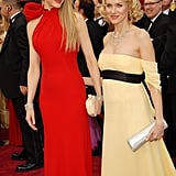 They held hands in their gorgeous gowns while arriving on the red carpet for the Oscars in February 2007.