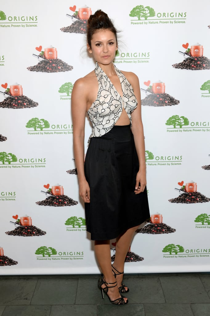Dobrev showed off her petite frame in a printed Thakoon cut-out dress and lacy Jimmy Choo sandals during an Origins launch in May 2013.