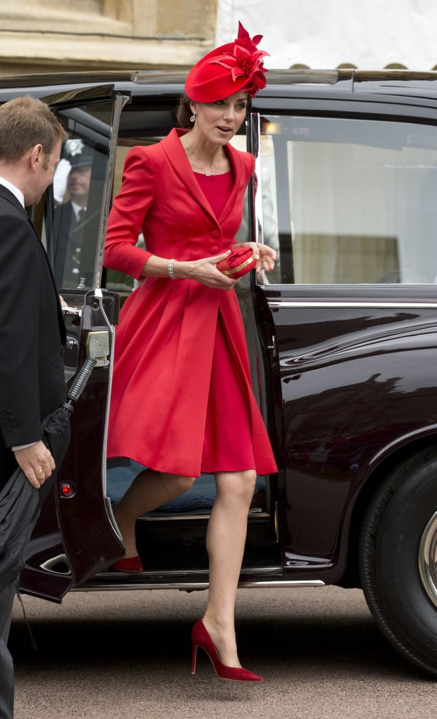 For Garter Day 2016, Kate wowed in a scarlet Catherine Walker coat with a matching Lock & Co. hat, Gianvito Rossi shoes in burgundy, and an Alexander McQueen clutch.