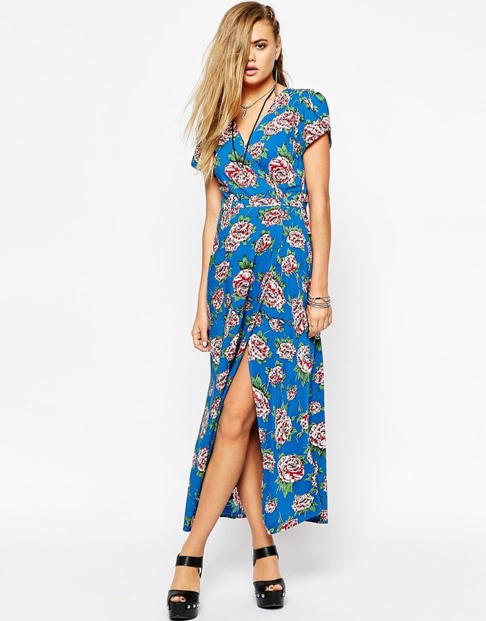 08d9246916 Motel Wrap Front Maxi Dress With Thigh Split in Floral Print ($95 ...