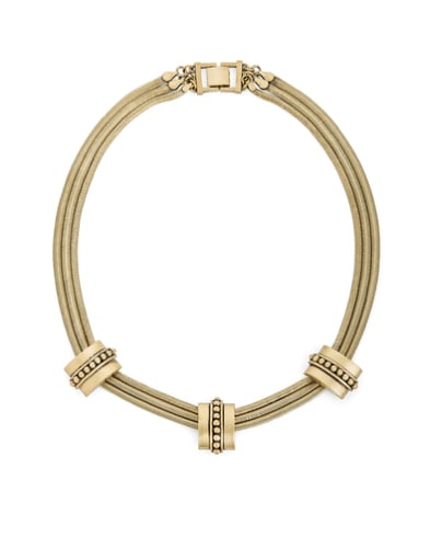 If you're not one for color, this JewelMint Golden Guard necklace ($30) makes a statement in sleek metal.