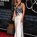 Jenni 'Jwoww' Farley's plunging monochromatic gown was a safe option for the VMAs.