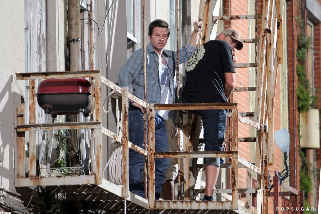 Mark Wahlberg hung out on a fire escape.