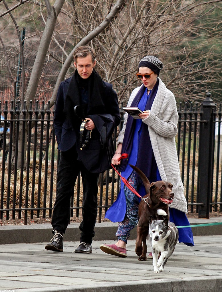 Anne Hathaway and Adam Shulman took their dog for a walk together in NYC.