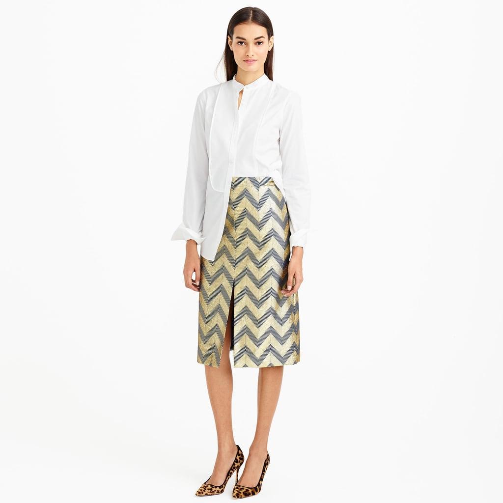 J.Crew Collection Gilded Chevron Skirt