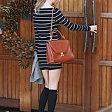 With a basic, long-sleeved dress