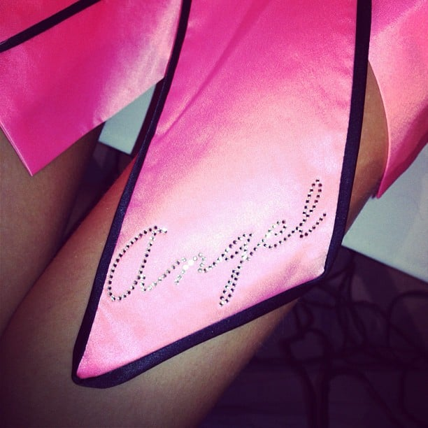 Jessica Hart got a close-up of the crystal detail on her Angel robe. Source: Instagram user 1jessicahart