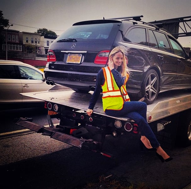 Only Lauren Santo Domingo could look chic on the back of a tow truck.  Source: Instagram user thelsd