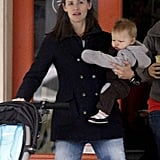 Jennifer Garner carried Samuel Affleck out of a New Orleans coffee shop.