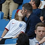 Most recently, the former professional soccer player took the time to kiss Harper at the Women's World Cup quarterfinal match, where the pair were cheering on England.