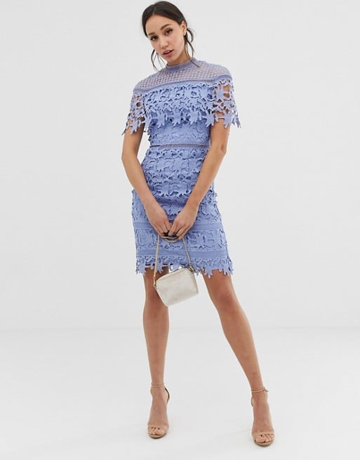 Chi Chi London Tall Lace High-Neck Minidress in Cornflower Blue