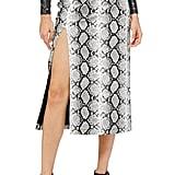 Topshop Snake-Print Faux-Leather Midi Skirt