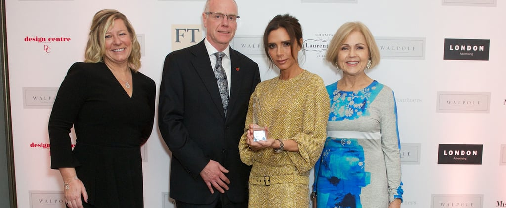 Victoria Beckham in Sparkly Gold Dress