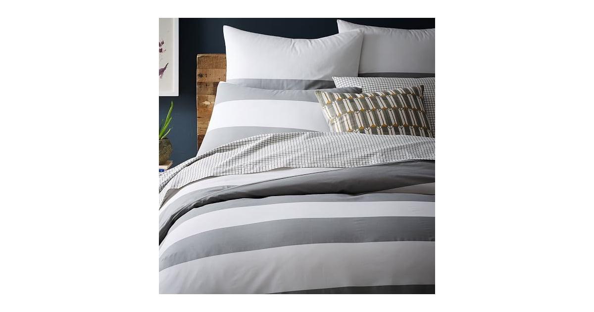 West Elm Mod Stripe Duvet Cover Shams 16 69 Gray Bedroom