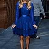 Mom-to-be Carrie Underwood wore a pretty blue dress for a taping of The View in NYC on Monday.