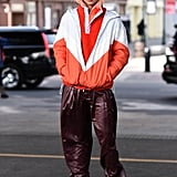 Winter Outfit Idea: A Sporty Parka and Leather Pants