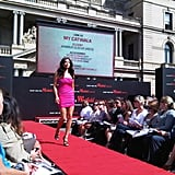 Model Jessica Gomes at the Westfield runway show in Circular Quay, Sydney. Twitter User: MyCatwalk