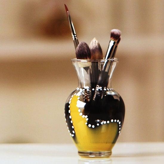 DIY Painted Makeup Brush Holder   Video