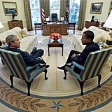 Sitting back and chatting at the Oval Office in 2008