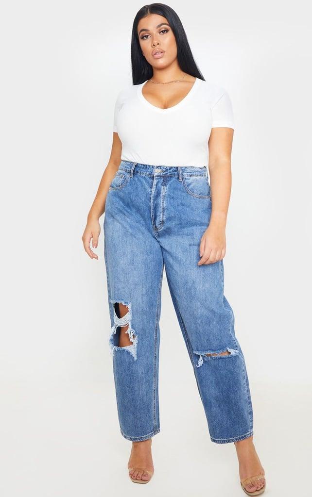 PrettyLittleThing Plus Size Mid Wash Blue Knee Rip Boyfriend Jean