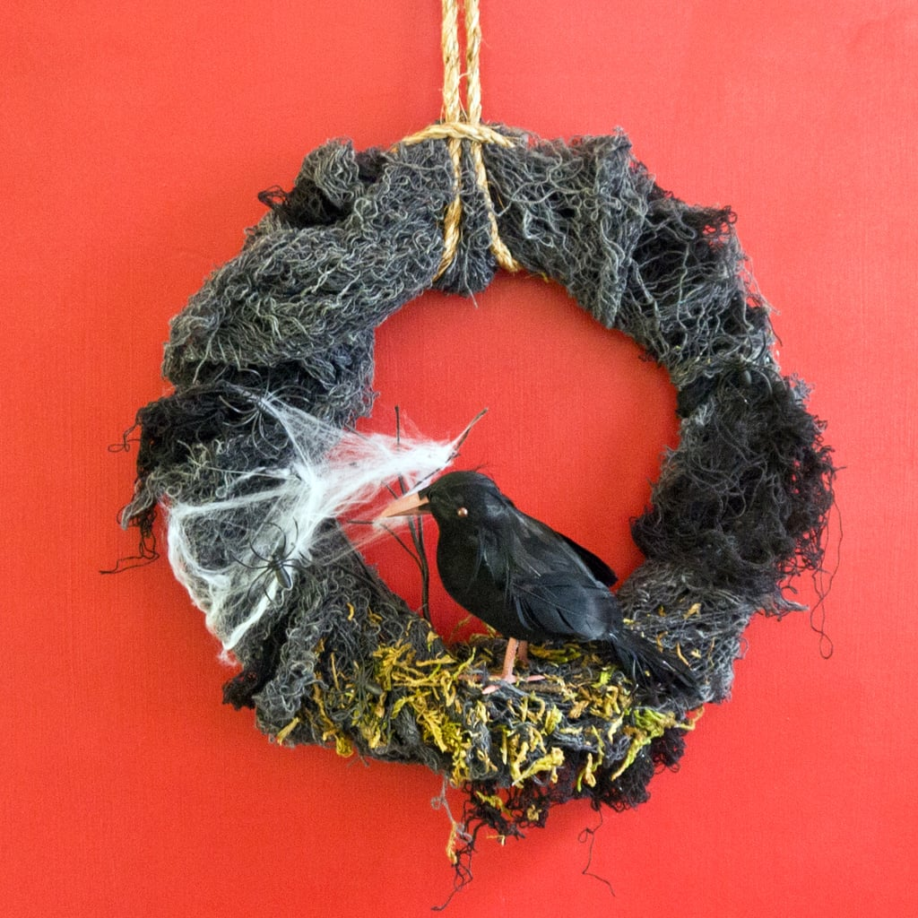 diy halloween nevermore wreath popsugar smart living