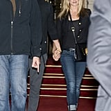 Jennifer Aniston and Justin Theroux walked hand in hand for their dinner date in Paris.