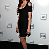Nina Dobrev showed some shoulder at Herve Leger.