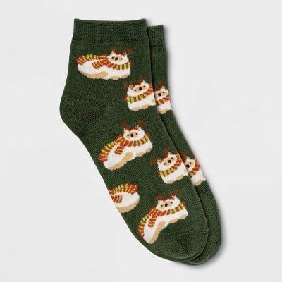 Reindeer Cat Ankle Socks